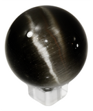 Black 60mm Cat's Eye Orb Gemstone Crystal Ball w Glass Stand