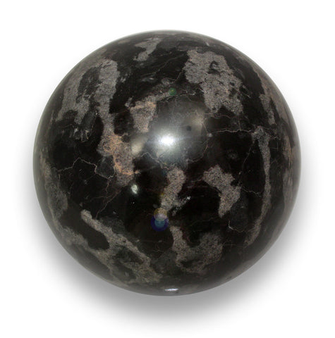 Polished Black & Gray Marble Sphere - 4 Inches Diameter w/Info Card - Sculpted Orb