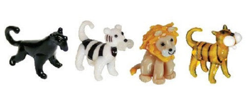Looking Glass Torch - Jungle Figurines - Panther, 2 Different Tigers& Lion (4-Pack)