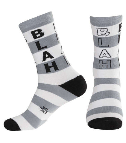 Blah Socks - White, Black & Grey Unisex Dress Crew Socks by Gumball Poodle