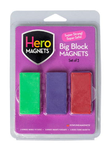 Hero Magnets Big Block - Magnetic Set of 3 with Assorted Colors