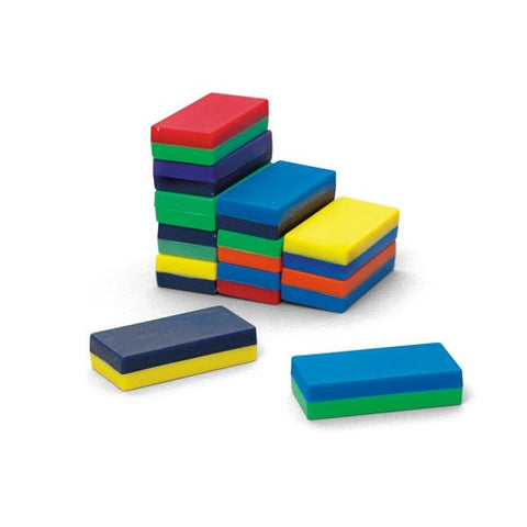 Plastic Encased Two-Toned Block Magnets: 12 Pieces