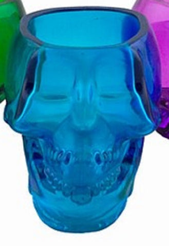 Glass Skull 3 Inch Blue Containers/Votive/Candle Holders Set of 2