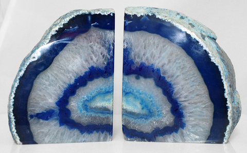 "7"" Large Blue Crystal Agate Geode Bookends - Home Decor"