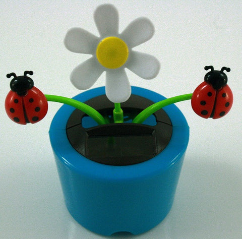 Solar Powered Dancing Daisy with Lady Bugs - Blue