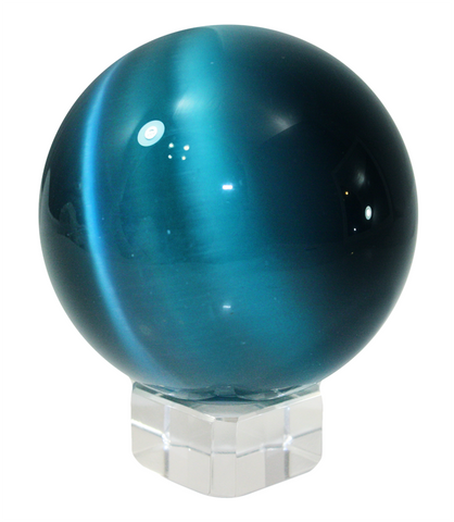 Blue 60mm Cat's Eye Orb Gemstone Crystal Ball w Glass Stand