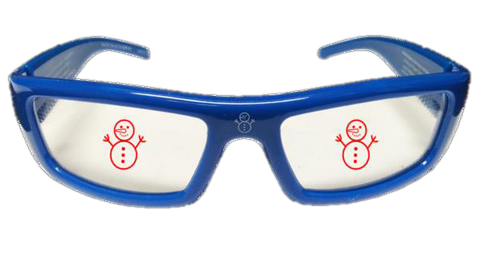 Blue Plastic Frame - Holiday Specs - Snowman Holographic Glasses