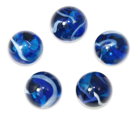 "1"" Blue Jay Mega Marble 25mm Shooters - Pack of 5 w/Stands"