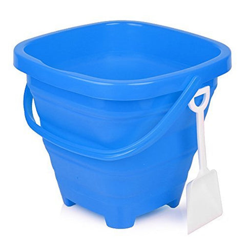 5 Liter Aqua Blue Collapsible Beach Bucket w/Shovel, by Packable Pails