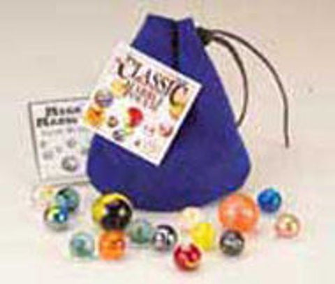Blue Classic Leather Marble Pouch with 15 Marbles Set