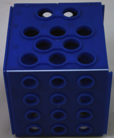 Cube Test Tube Rack - Four Sizes of Holes  - Blue Plastic