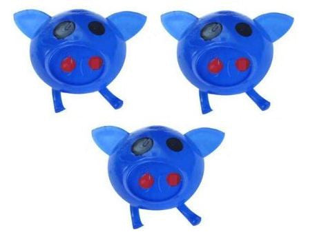 Splat Ball Novelty Squishy Toy Blue Pig-Pack of 3