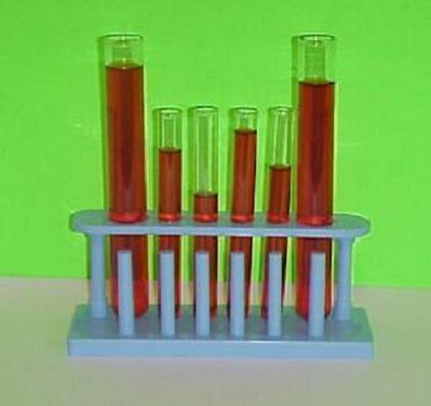 Blue Plastic Test Tube Rack with 6 Test Tubes