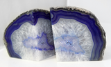 "7.5"" Large Blue/Purple Crystal Agate Bookends - Home Decor"