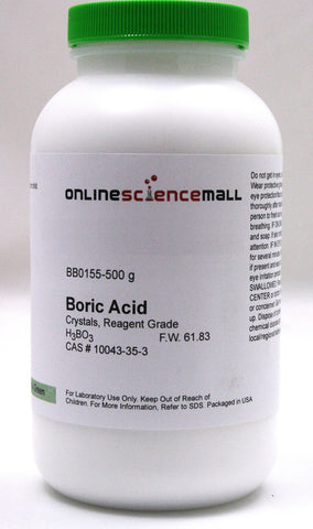 Boric Acid Crystalline Powder, 500g - Reagent Grade Chemical Reagent