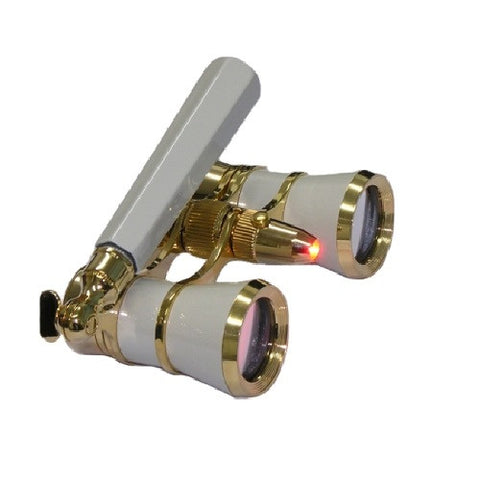 Levenhuk Broadway 325N Opera Glasses White Lorgnette and LED light
