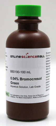 Bromocresol Green, 0.04% pH Indicator, 100mL - Lab Grade Chemical Reagent