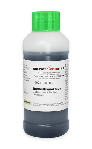 Bromothymol Blue, 0.04% pH Indicator, 100mL - Lab Grade Chemical Reagent