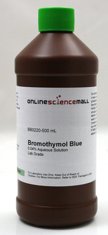 Bromothymol Blue, 0.04% pH Indicator, 500mL - Lab Grade Chemical Reagent