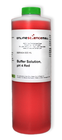 Buffer Solution, pH 4 Red, 500mL Bottle (Red Color Coded)