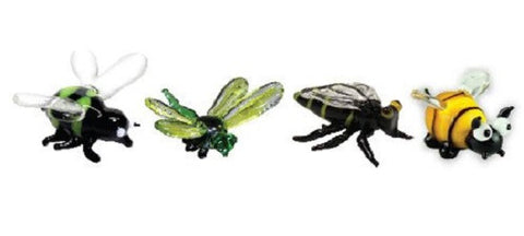 Looking Glass Torch Figurines - BumbleBee, DragonFly, Wasp & Bee (4-Pack)