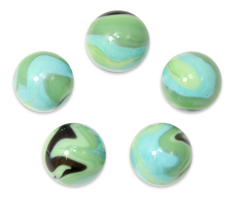 "7/8-Inch ""Butterfly"" Marble 22mm Shooters - Pack of 5 w/Stands"
