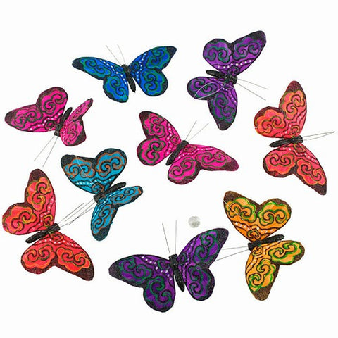 Mardi Gras Glitter Butterfly Garland: 9 Pieces