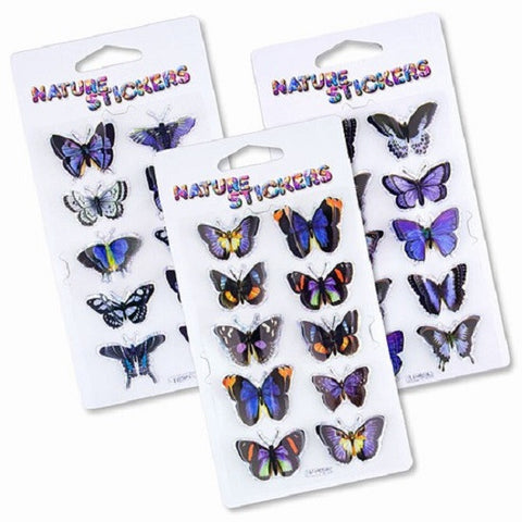 Midnight Blues Butterfly 3D Nature Stickers Assortment Pack of 3