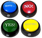Set of 4 Talking Buttons - No, Yes, Sorry & Maybe  - Novelty Desk Zany Toys