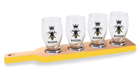 Buzzed Beer Flight Tasting Set w/Paddle & 8oz Glasses