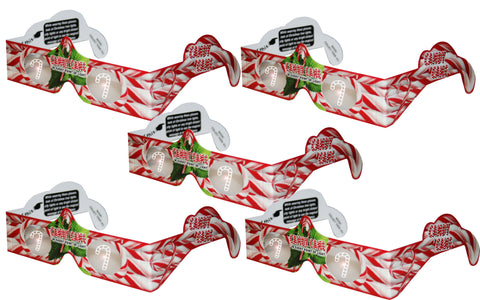 Holographic Glasses: 3D Candy Cane at Every Point of Light - 5 Pack
