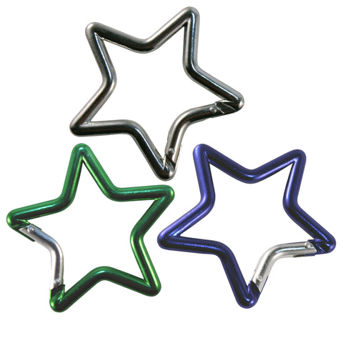 Key Carabiner - Set of Three Star Shaped in Assorted Colors
