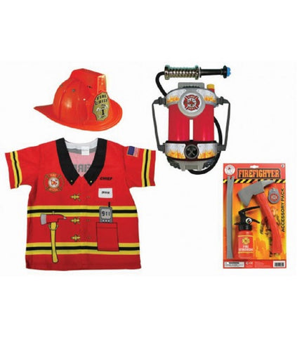 Firefighter Kit - Includes Fire Chief Hat, Super Soaker Hose Backpack, Fireman Shirt & Tool Set