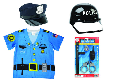 Police Officer Kit - Includes Helmet, Cap, Accessory Pack & Shirt by Aeromax