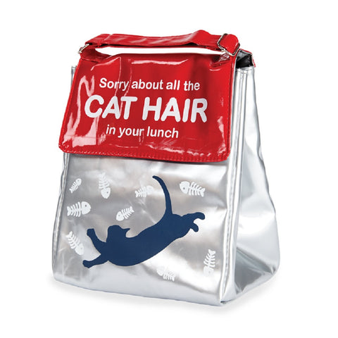 Cat Insulated Lunch Bag - Silver & Red Food Tote by Wild Eye Designs