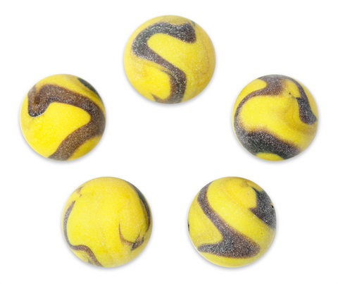 "1"" Caterpillar Mega Marble 25mm Shooters - Pack of 5 w/Stands"