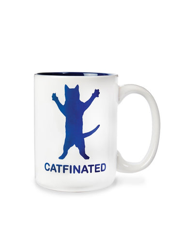 Catfinated - Ceramic Cat Coffee Mug -  Beverage or Tea Cup