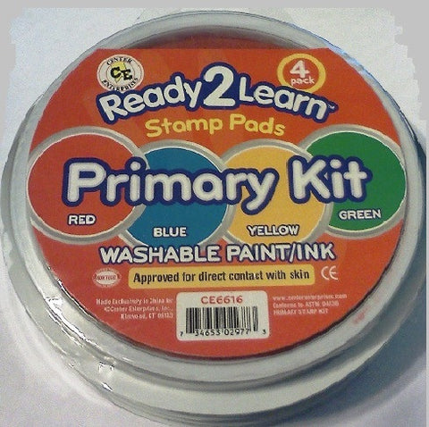 Ready to Learn Jumbo Washable Ink Stamper Pad Primary Kit, 4 colors