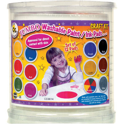 Ready to Learn Jumbo Washable Ink Stamper Pad Craft Kit,12 Colors