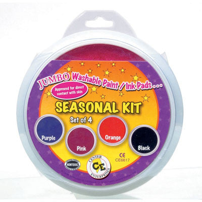 Set Of 4 Jumbo Washable Ink Stamper Pads, Ready to Learn Seasonal Kit