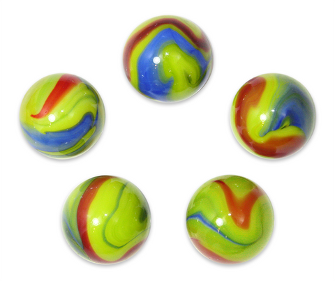 "1"" Chameleon Mega Marble 25mm Shooters - Pack of 5 w/Stands"