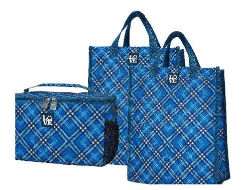 Chill Set Insulated Cooler & Reusable Grocery Bag Totes - Par 4 Plaid Pattern, by Love Bags