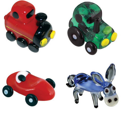 Looking Glass Torch - Transportation Miniatures - Train, Tractor, RaceCar & Donkey (4-Pack)