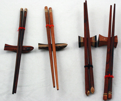 4 Pairs of Real Wooden Chopsticks with Rests