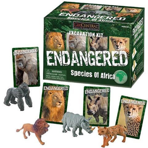 Endangered Species of Africa Excavation Kit Set of 4 Animals