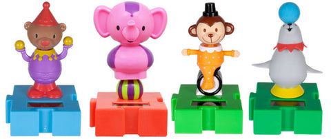Solar Powered Circus Animals Pack of 4 - Connectable Dancing Seal, Monkey, Bear & Elephant