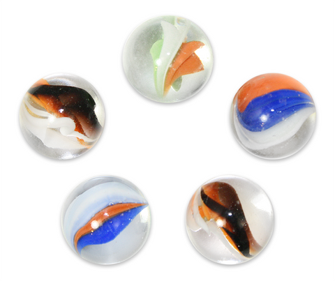 "1"" Classic Cat's Eye Mega Marble 25mm Shooters - Pack of 5 w/Stands"