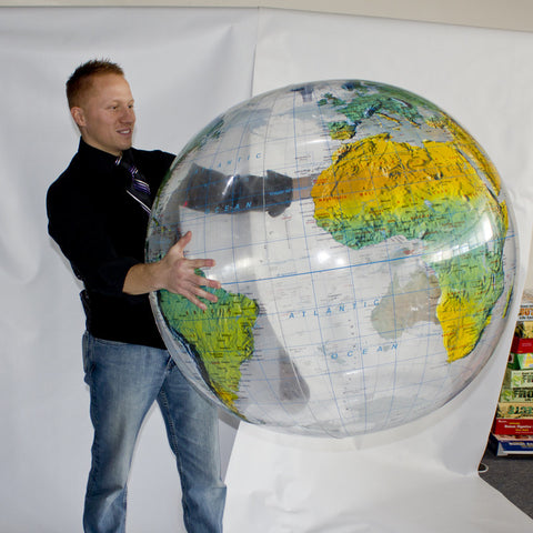 "Giant Inflatable Clear Topographical Globe - Huge 36"" Diameter"
