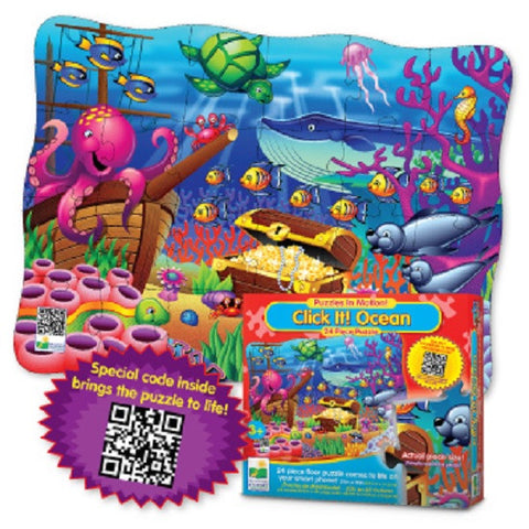 Puzzles In Motion-Click It! Ocean -24 Piece Jigsaw Floor Puzzle