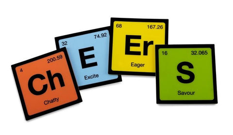 Periodic Table Style Silicone Coasters - Set of 4
